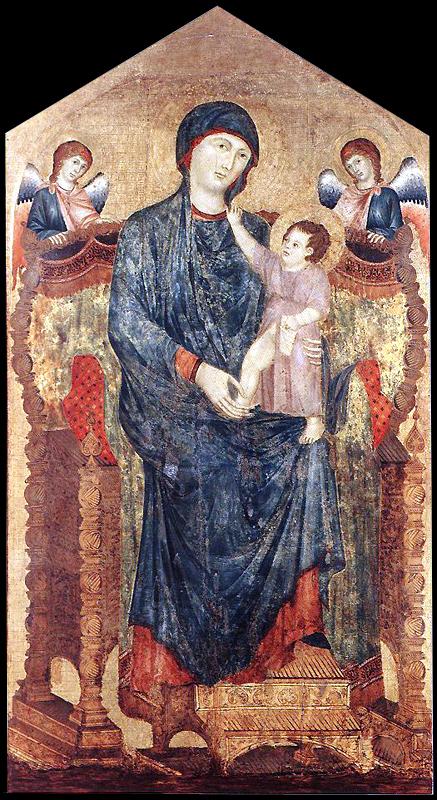Duccio: Maestà ou Vierge de l'église des Servites. 1280s. Tempera sur bois, 218 x 118 cm. Bologne, Chiesa dei Servi