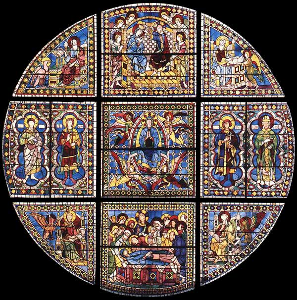 Duccio: vitrail de l'abside de la cathédrale. 1288. Verre, diamètre, 700 cm. Sienne, Dôme