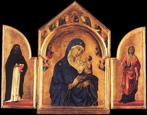 Duccio: Triptyque. 1300-1305. Tempera sur bois, 61,5 x 78 cm. Londres, National Gallery