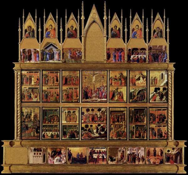 Reconstitution hypothétique digitalisée de la Maestà: façade arrière. L'image montre une reconstruction hypothétique de la face arrière de la Maestà, avec prédelle, pinacles, et éléments de cadrage. Cette reconstruction a été numérisée par Lew Minter en avril 2006