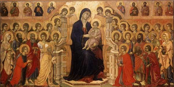 Maestà, madone en majesté avec anges et saints, face avant. 1308-1311. Tempera sur bois, 214 x 412 cm. Sienne, musée de l'œuvre du Dôme