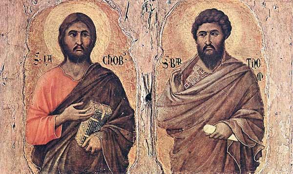 Duccio di Buoninsegna: la Maestà, face avant, détail: les apôtres Jacques le Mineur et <a class=