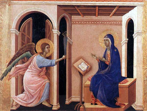 Duccio di Buoninsegna: la Maestà, face avant, détail: l'annonce de la mort de la Vierge. 1308-1311. Tempera sur bois, 41,5 x 54 cm. Sienne, musée de l'Œuvre du Dôme