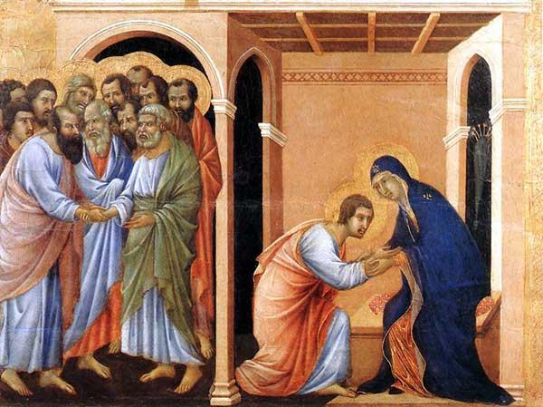Duccio di Buoninsegna: la Maestà, face avant, détail: l'adieu à saint Jean. 1308-1311. Tempera sur bois, 41,5 x 54 cm. Sienne, musée de l'Œuvre du Dôme