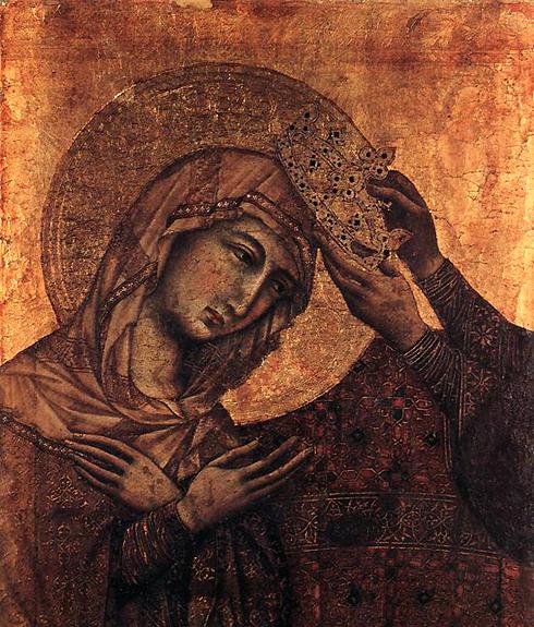 Duccio di Buoninsegna: la Maestà, face avant, détail: fragment fronton central de la Maestà surmontant le panneau central.1308-1311. Tempera sur bois, 51,5 x 32 cm. Budapest, Museum of Fine Arts