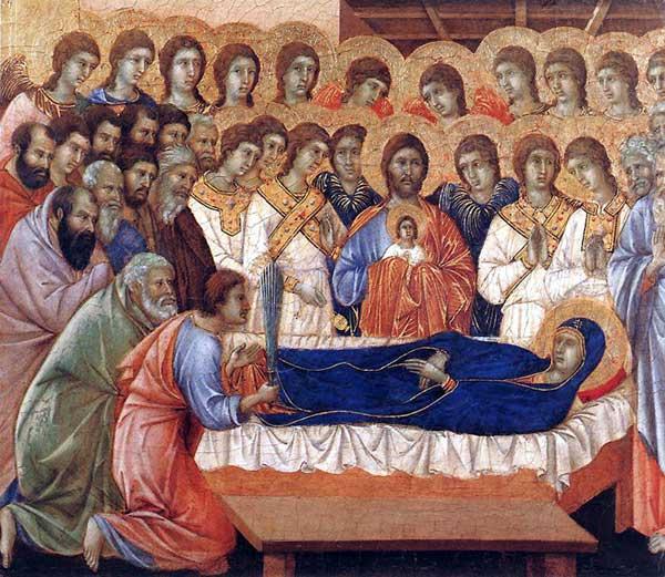 Duccio di Buoninsegna: la Maestà, face avant, détail: la mort de la Vierge. 1308-1311. Tempera sur bois, 40 x 45,5 cm. Sienne, musée de l'Œuvre du Dôme