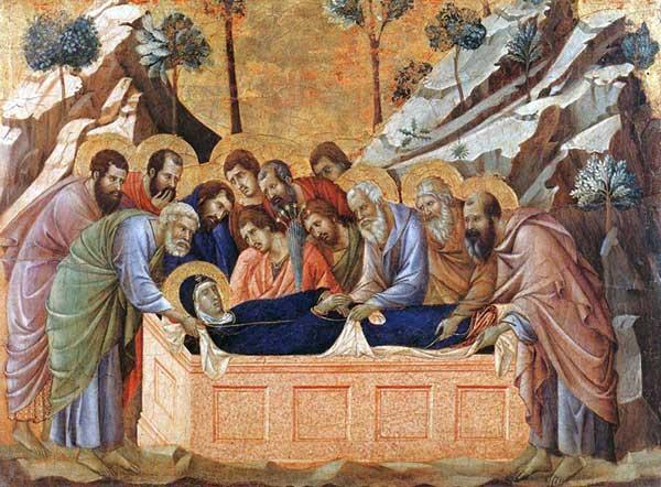 Duccio di Buoninsegna: la Maestà, face avant, détail: la mise au tombeau de la Vierge. 1308-1311. Tempera sur bois, 41 x 54,5 cm. Sienne, musée de l'Œuvre du Dôme