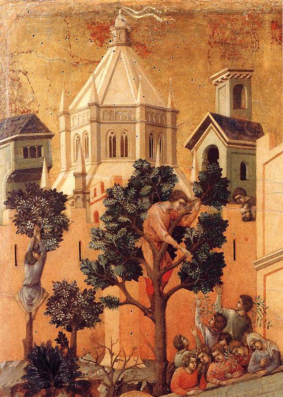 Duccio: la Maestà: l'entrée à Jérusalem, détail. 1308-1311. Tempera sur bois. Sienne, musée de l'Œuvre du Dôme