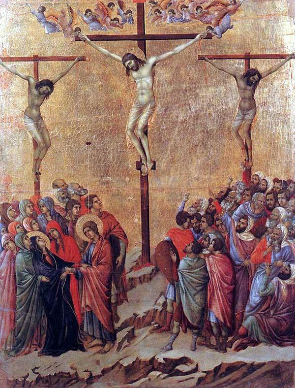 Duccio: Maestà: la crucifixion. 1308-1311. Tempera sur bois, 100 x 76 cm. Sienne, musée de l'Œuvre du Dôme