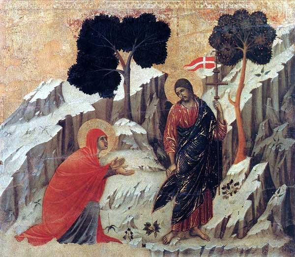 Duccio: Maestà: «Noli me tangere». 1308-1311. Tempera sur bois, 51 x 57 cm. Sienne, musée de l'Œuvre du Dôme