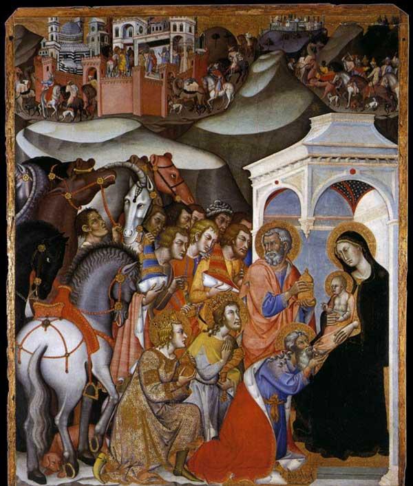 Bartolo di Fredi: l'adoration des Mages. 1385-1388. Tempera sur panneau, 195 x 163 cm. Sienne, Pinacothèque Nationale
