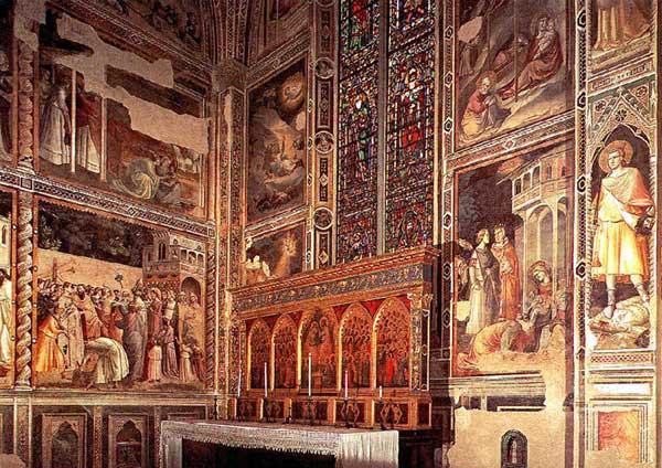 Taddeo Gaddi: Vue générale de la chapelle Baroncelli. 1328-1330. Fresque, Florence, Santa Croce