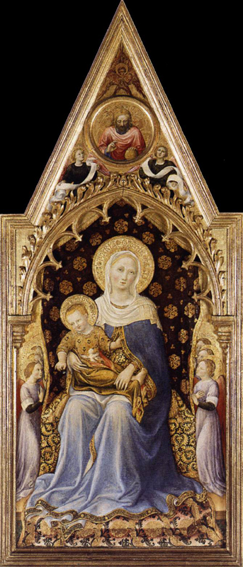 Gentile da Fabriano : Retable Quaratesi : Vierge. 1425. Tempera à l'oeuf sur peuplier, 140 x 83 cm. Londres, National Gallery