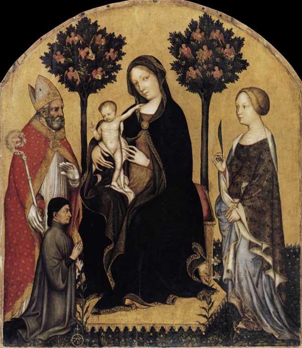 Gentile da Fabriano: Vierge à l'enfant avec saint Nicolas et sainte Catherine. Vers 1405. Tempera sur panneau de bois. Berlin, Staatliche Museen