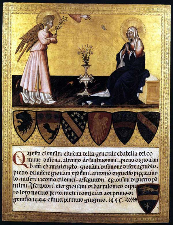 Giovanni di Paolo: l'annonciation. Tempera sur bois, 44 x 33 cm. Vatican, Pinacothèque