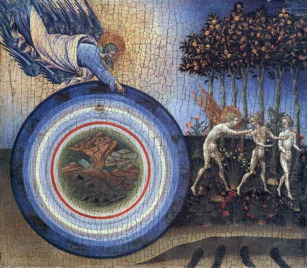Giovanni di Paolo: la création et l'expulsion du paradis. Vers 1445. Tempera et or sur bois, 46, 4 x 52,1 cm. New York, Metropolitan Museum of Art