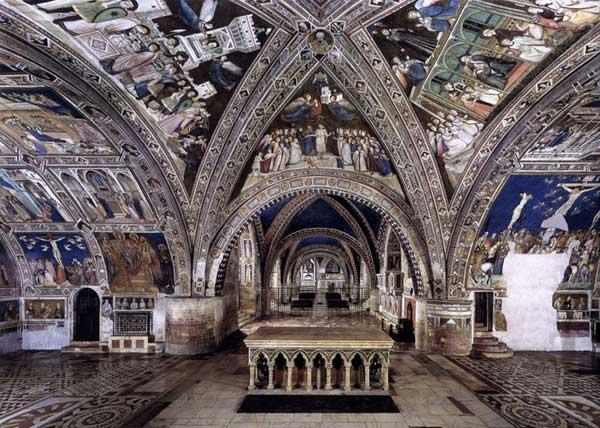Giotto : Eglise inférieure Saint François d'Assise: vue panoramique des fresques. 1320-1340