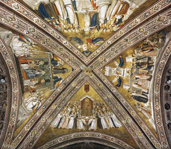 Giotto : Les vertus franciscaines. 1330. Fresque de la croisée. Assise, église inférieure Saint François