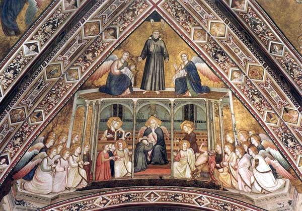 Giotto : Les vertus franciscaines: allégorie de l'obéissance. 1330. Fresque. Assise, église inférieure Saint François