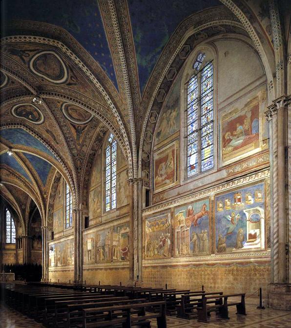 Giotto :  Assise, église supérieure Saint François: vue de l'intérieur vers l'autel: la paroi nord, à droite de l'entrée