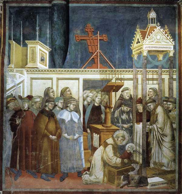 Giotto: légende de saint François: l'institution de la Crèche à Greccio. 1297-1300. Fresque, 270 x 230 cm. Assise, église supérieure Saint François