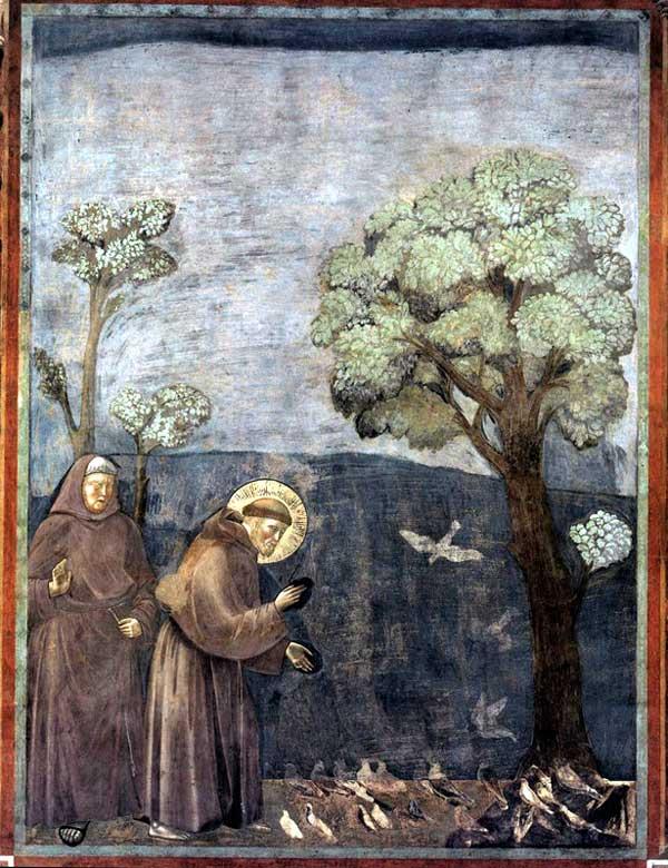 Giotto : Légende de saint François: le sermon aux oiseaux. 1297-1299. Fresque, 270 x 200 cm. Assise, église supérieure Saint François
