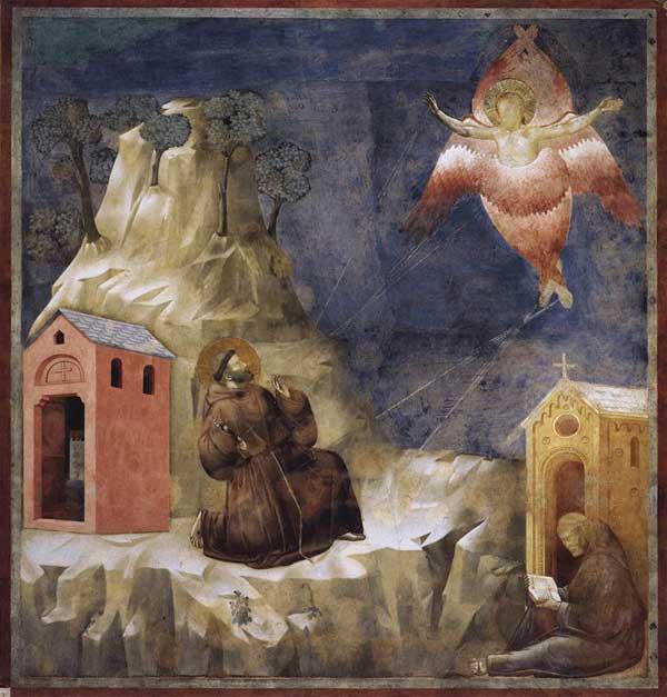 Giotto : Légende de saint François: la stigmatisation de saint François. 1297-1300. Fresque, 270 x 230 cm. Assise, église supérieure Saint François