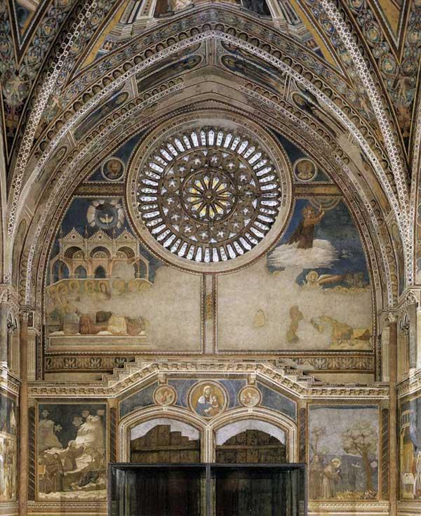Giotto : Fresques sur le mur intérieur de la façade. 1290s. Fresques. Assise, église supérieure Saint François