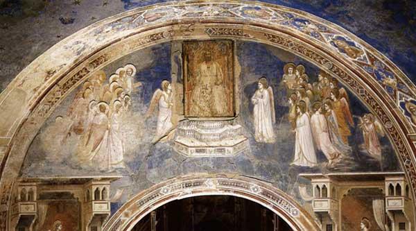 Giotto : Scènes de la vie de la Vierge: Dieu envoie l'ange à la Vierge. 1304-1306. Fresque, 230 x 690 cm. Padoue: la chapelle Scrovegni ou chapelle de l'Arena