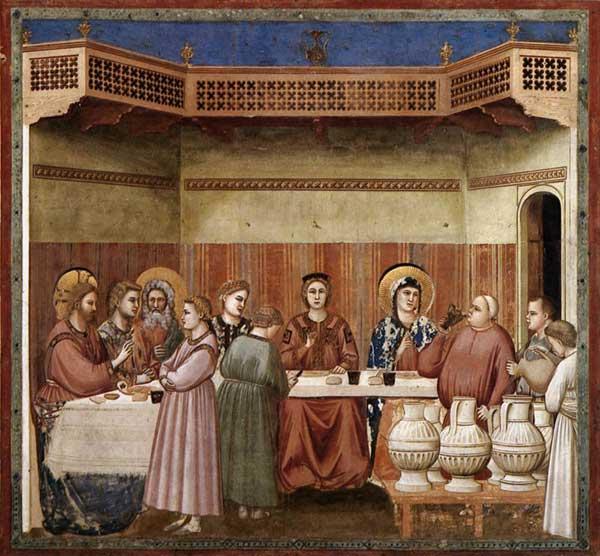 Giotto: scènes de la vie du Christ: les Noces de Cana. 1304-1306. Fresque, 200 x 185 cm. Padoue: la chapelle Scrovegni ou chapelle de l'Arena