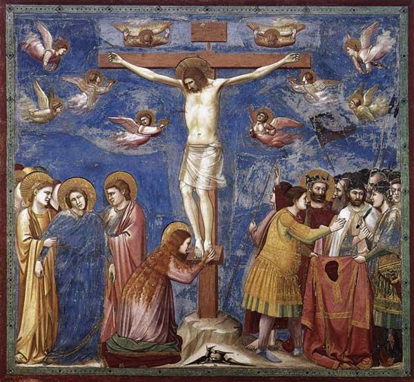 Giotto : Scènes de la vie du Christ: la Crucifixion. 1304-1306. Fresque, 200 x 185 cm. Padoue: la chapelle Scrovegni ou chapelle de l'Arena