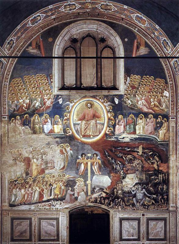Giotto : Le Jugement dernier. 1306. Fresque, 1000 x 840 cm. Padoue: la chapelle Scrovegni ou chapelle de l'Arena