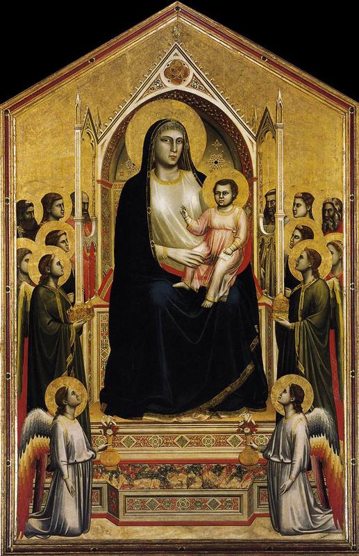 Giotto : La Madone «Ognissanti» (Maestà). Vers 1310. Tempera sur bois, 325 x 204 cm. Florence, les Offices