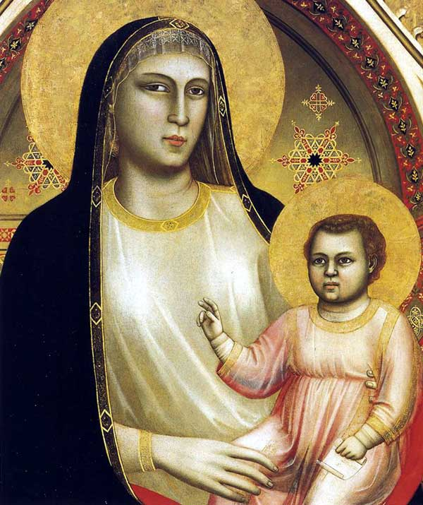 Giotto: la Madone «Ognissanti» (Maestà), détail. Vers 1310. Tempera sur bois, 325 x 204 cm. Florence, les Offices
