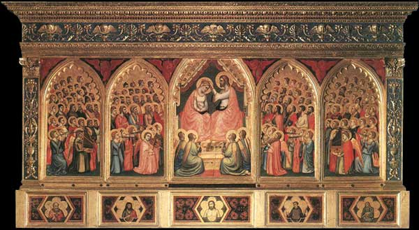 Giotto : Le polyptyque Baroncelli. Vers 1334. Tempera sur bois, 185 x 323 cm. Florence, Santa Croce, chapelle Baroncelli