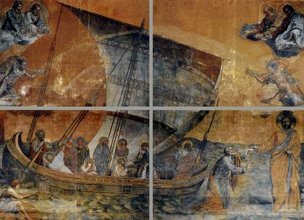 Giotto :  Francesco Berretta: réplique de la Navicelle de Giotto. Huile sur toile, 740 x 990 cm. Rome, Fabbrica di San Pietro