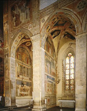 Giotto : Vue des chapelles Bardi (à gauche) et Peruzzi (à droite) à Santa Croce de Florence