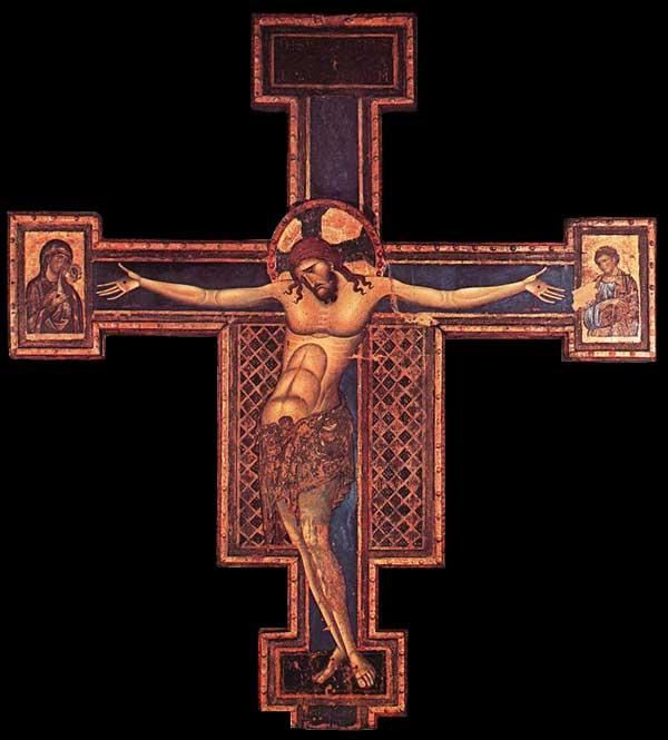 Giunta Pisano: Crucifixion. 1240s. Tempera sur bois, 316 x 285 cm. Bologne, San Domenico