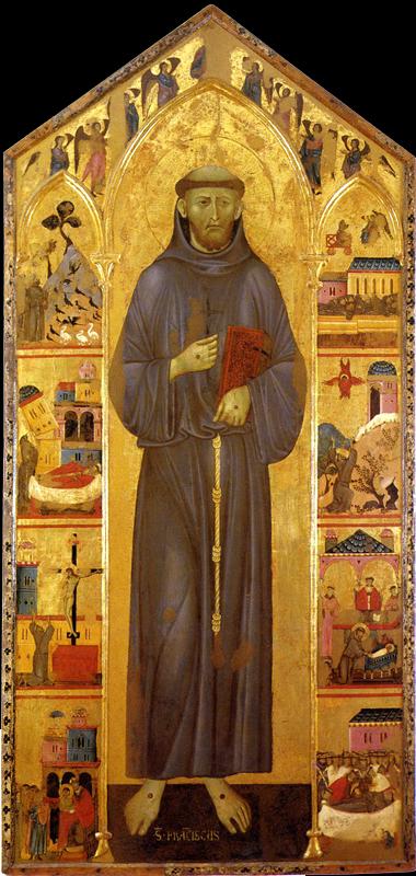Guido di Graziano: Saint François. Après 1270. Tempera et or sur panneau, 237 x 113 cm. Sienne, Pinacothèque Nationale