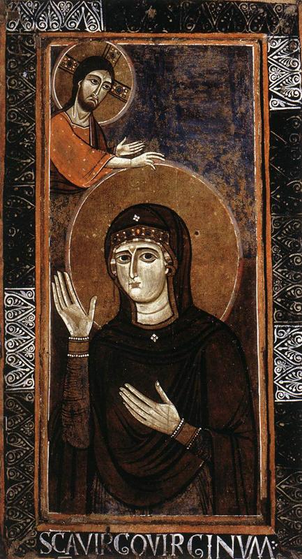 La Madone «Avocate» («Haghiosoritissa»). 1150s. Tempera sur panneau de bois couvert de toile, 107 x 57,5 cm. Rome, Galleria Nazionale d'Arte Antica