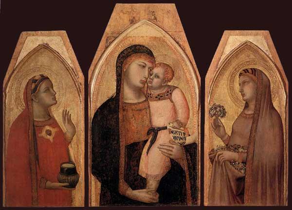 Ambrogio Lorenzetti: Madone et enfant avec Marie Madeleine et sainte Dorothée. Vers 1325. Bois, 90 x 53 cm. (Panneau central), 88 x 39 cm. (Chaque panneau latéral). Sienne, Pinacothèque Nationale