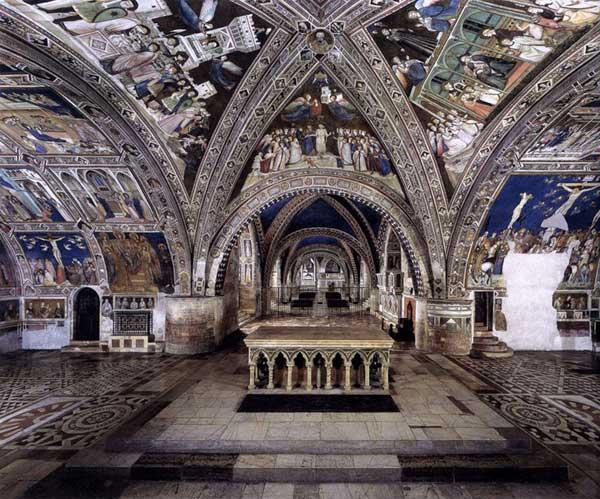 Pietro Lorenzetti: Vue panoramique des fresques. 1320-1340. Fresque. Assise, église inférieure Saint François