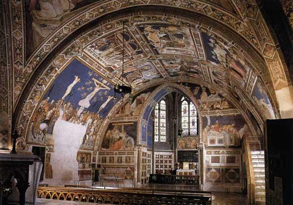 Pietro Lorenzetti: Vue sur le transept sud. Vers 1320. Fresque, Assise, église inférieure Saint François
