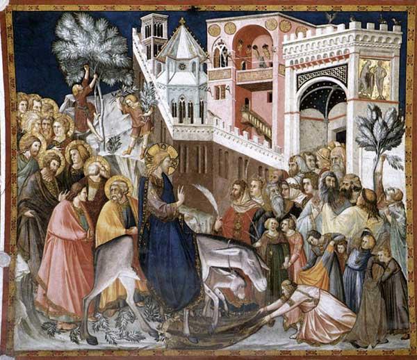 Pietro Lorenzetti: Entrée du Christ à Jerusalem. Vers 1320. Fresque. Assise, église inférieure saint François, transept sud