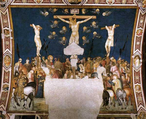 Pietro Lorenzetti: Crucifixion. Vers 1320. Fresque. Assise, église inférieure saint François, transept sud