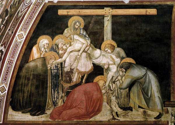 Pietro Lorenzetti: La deposition de la croix, détail. Vers 1320. Fresque. Assise, église inférieure saint François, transept sud