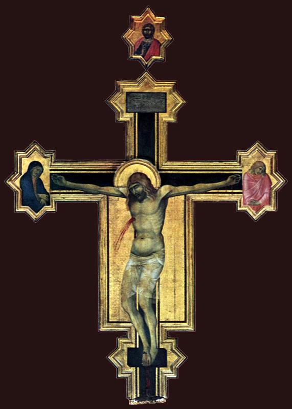 Pietro Lorenzetti: Crucifix. Vers 1320. Panneau de bois, 380 x 274 cm. Cortone, Musée diocésain