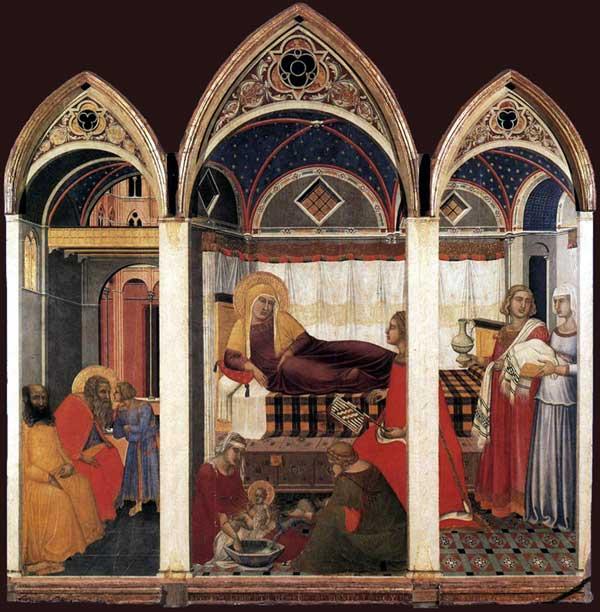 Pietro Lorenzetti: La naissance de Marie. 1342. Tempera sur bois, 188 x 183 cm. Sienne, musée de l'œuvre du Dôme