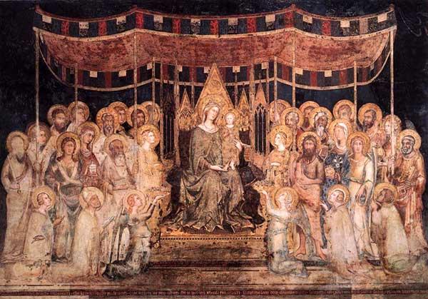 Simone Martini: la Maestà (Madone avec Anges et Saints). 1315. Fresque, 763 x 970 cm. Sienne, Palazzo Pubblico