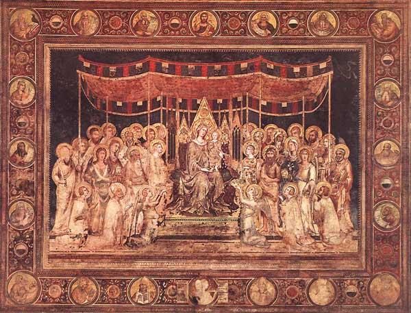 Simone Martini: Maestà, détail des médaillons. 1315. Fresque. 763 x 970 cm. Sienne, Palazzo Pubblico